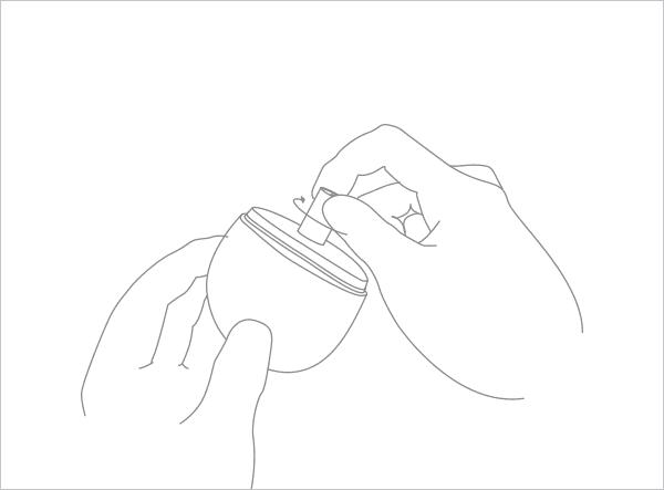 カートリッジ(別売)を本体の穴に取り付け、stonの起動のため、初回使用時・カートリッジ交換時は素早く2回吸引する図